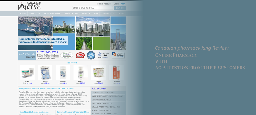 Canadian Pharmacy King Review – Online Pharmacy With No Attention From Their Customers