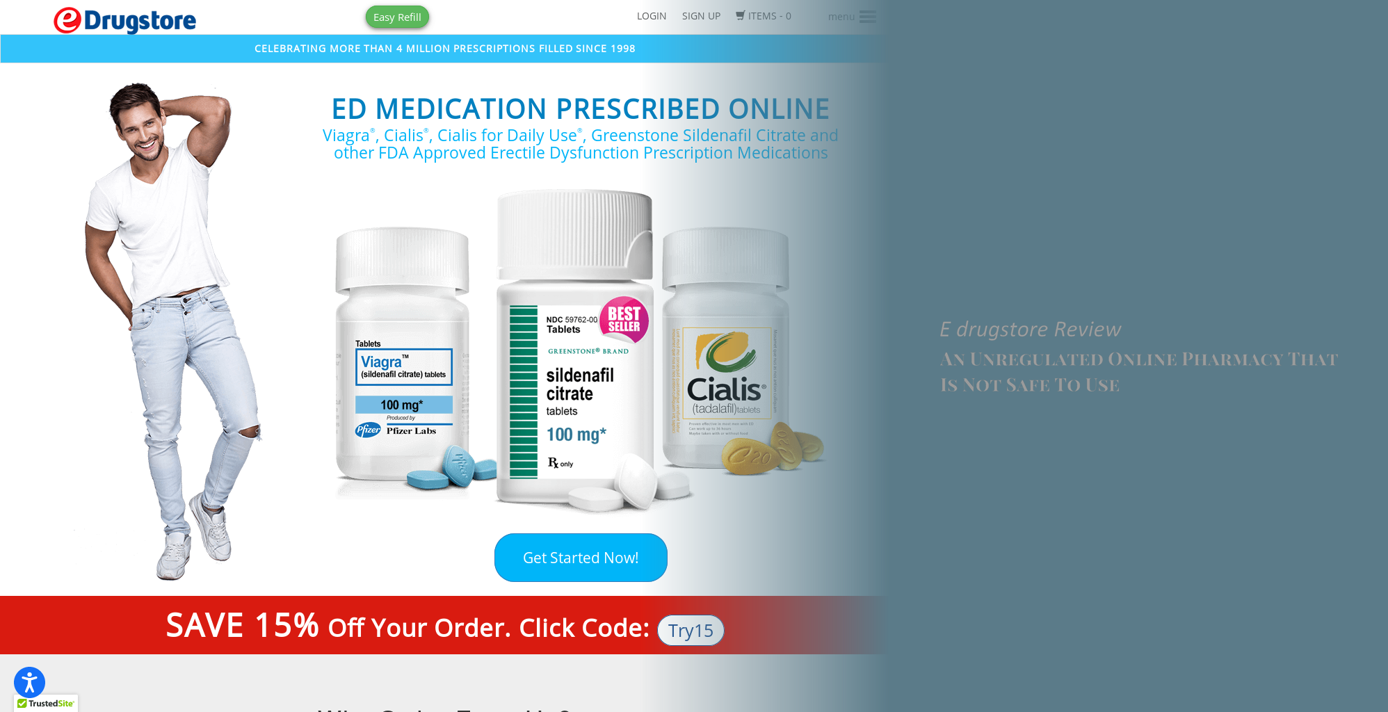 E Drugstore Review – An Unregulated Online Pharmacy That Is Not Safe To Use